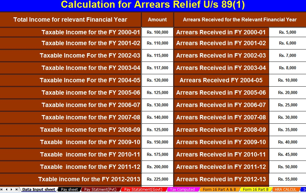 Automated Income Tax Arrears Relief Calculator U/s 89(1) With Form 10E For the F.Y.2020-21 (Amended Version)