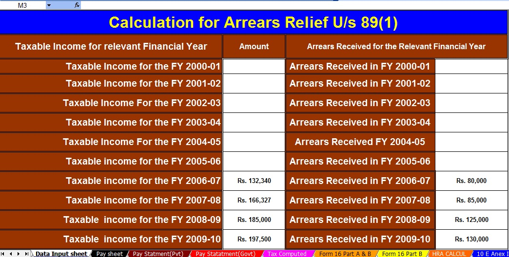 Deduction U/s 16 with Automated Income Tax Salary Arrears Relief Calculator U/s 89(1) with Form 10E for the F.Y.2020-21