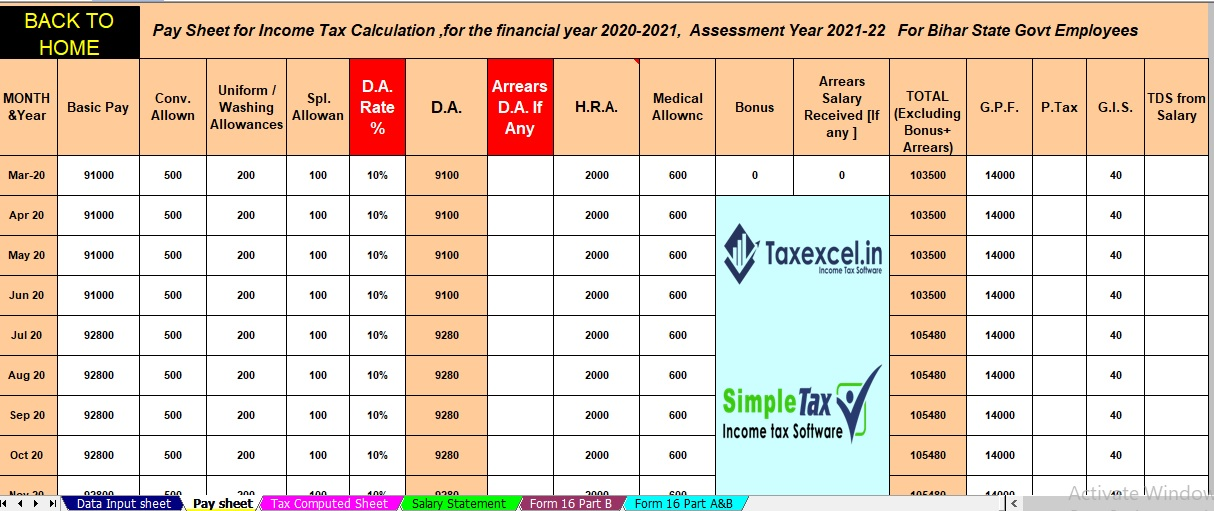 Auto Calculate Income Tax  All in One for Bihar State Employees for F.Y.2020-21 as per New and Old Tax Regime U/s 115BAC