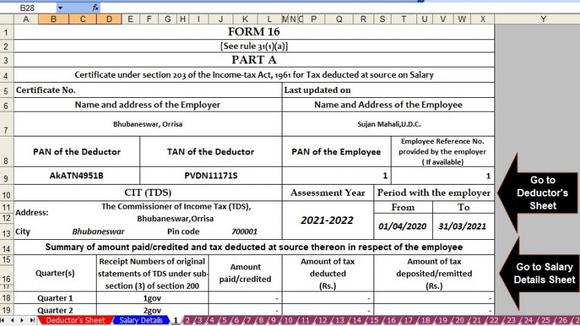 Income Tax Revised Form 16 for F.Y.2020-21