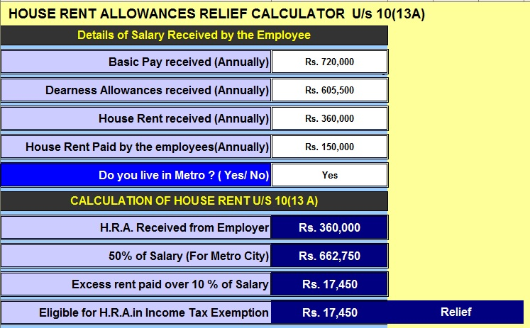 Income Tax H.R.A. Calculator U/s 10(13A)